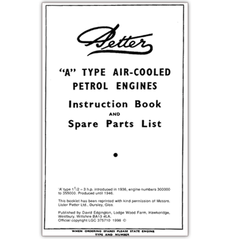 Petter 'A' Type Air-Cooled Petrol Engines Instruction Book and Spare Parts List Booklet