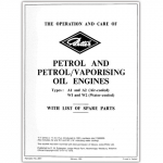 Petter 'A' Type Air-Cooled Petrol Engines Instructions and Spare Parts List Booklet