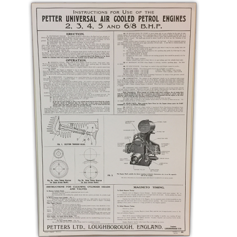 Petter Universal Air Cooled Petrol Engines 2,3,4,5 & 6/8 B.H.P. Wall Chart