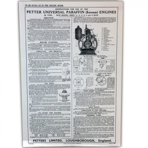 Stationary Engine Wall Chart Ref 25B - Instructions for the use of Petter Universal Paraffin (Kerosene) Engines M. Type Model Sizes: 1 1/2, 2, 3,4,5 and 6 B.H.P.