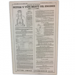 Stationary Engine Wall Chart Ref 25C - Instructions for the use of Petter S Type Heavy Oil Engines Sizes 5 - 42 B.H.P.