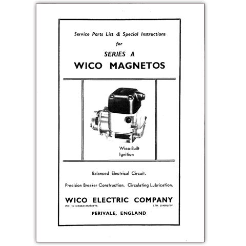 Service Parts List & Special Instructions for Series A Wico Magneto
