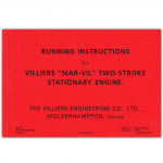 Stationary Engine Booklet Ref 33 - Running Instructions for Villiers 'Mar-Vill' Two Stroke Stationary Engine