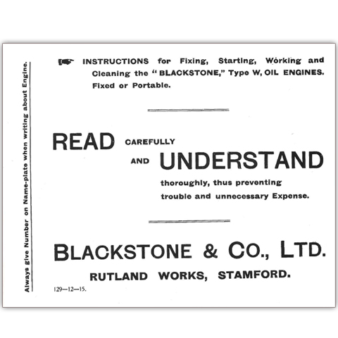 Blackstone Type W, Oil Engines Fixed or Portable Working Instructions
