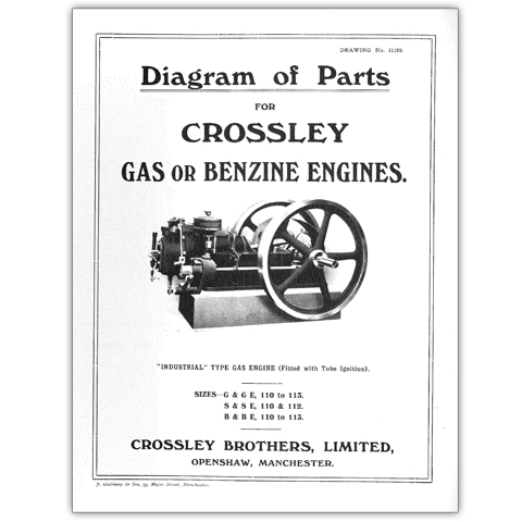 Stationary Engine Booklet Ref 48 - Diagram of Parts for Crossley Gas or Benzine Engines