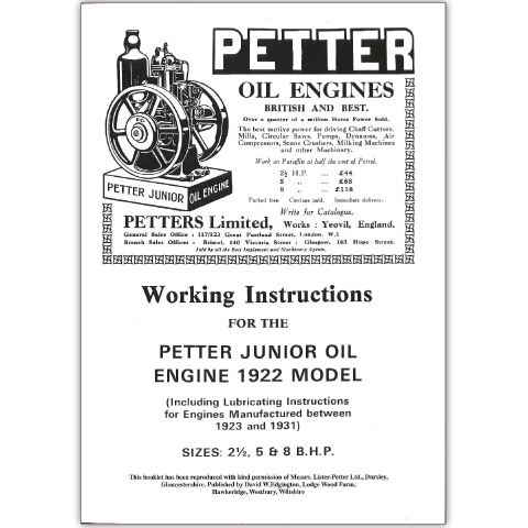 Petter Working Instructions for the Petter Junior Oil Engine 1922 Model