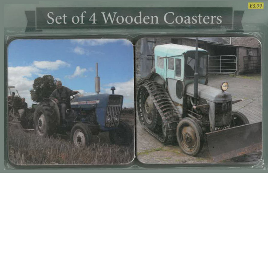 Set of 4 Wooden Tractor Coasters